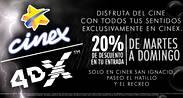 Cinex Activa 20% de descuento en entradas para 4DX