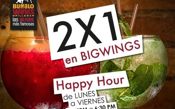 Happy Hour 2x1 en Bigwings en Buffalo Wings
