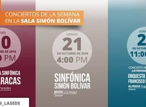 Conciertos de la semana en la Sala Simón Bolívar