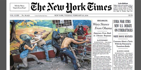 Gochos en la portada del diario The New York Times (Foto)